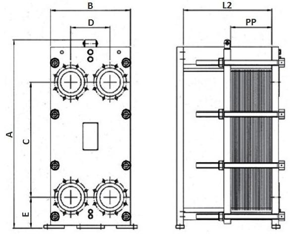 Габаритные размеры теплообменника Паяный пластинчатый теплообменник SWEP P120T Калининград